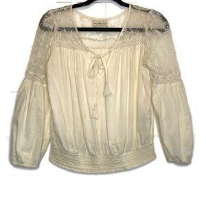 Ralph Lauren Denim Supply Lace Sheer Boho Top